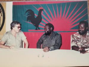 Eric with Gen.Jonas Savimbi and Chief of Staff at UNITA HQ during battles of Mavinga and Cuanavale